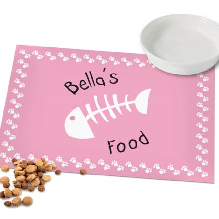 Personalised Cat Placemat - Pink Paw Print